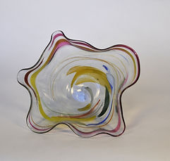 blown glass wavy bowl BGOLD