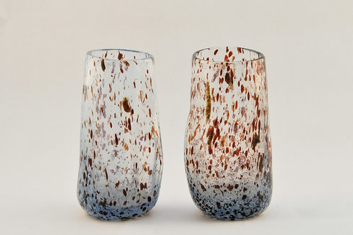 Pair of Speckled Shot Glasses in Light Blue