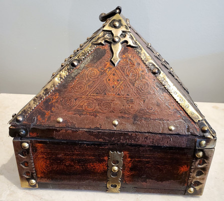 18th Century Brass and Lacquered Teak Decorative Dowry Box