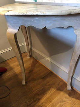 French Rococo Style Ivory Console Table with Collaged Vintage Letters