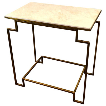 Art Deco Style Gilt Metal Marble End Table