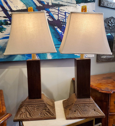 Pair of Table Lamps Constructed from 19th Century Indonesian Teak Column Bases