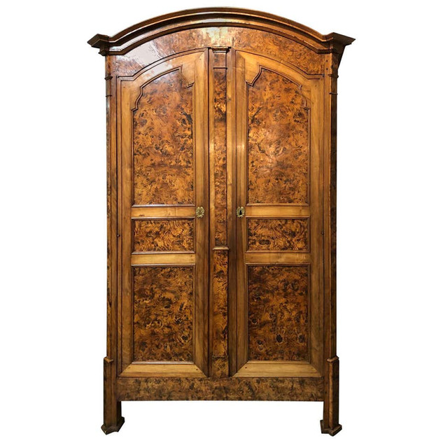 19th Century Louis XVI Style French Provincial Burled Ash Armoire