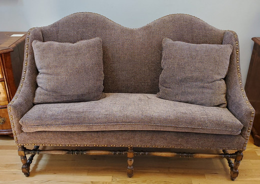 Late 19th Century French Provincial Walnut Settee with Modern Upholstery