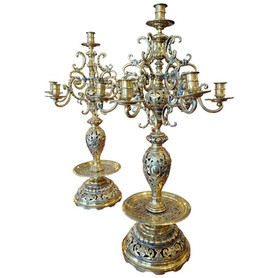 Pair of Large 19th Century Russian Brass Candelabra Candleholder