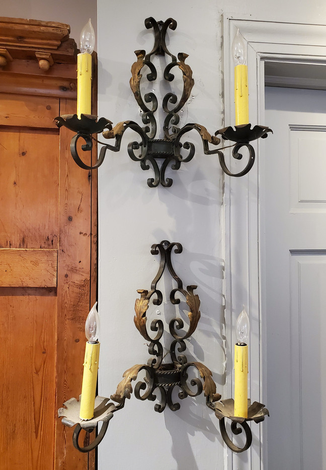 Pair of Late 19th Century French Provincial Wrought Iron Wall Sconces