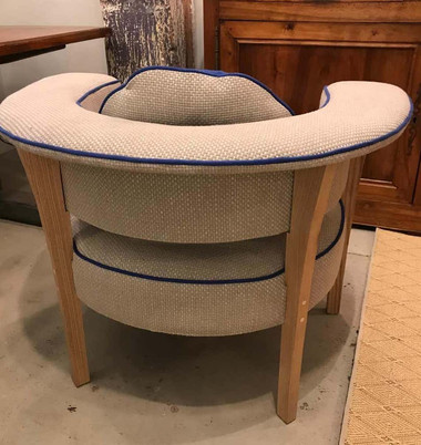Mid-century Style VikingArmchairs Natural Linen and Blue Piping