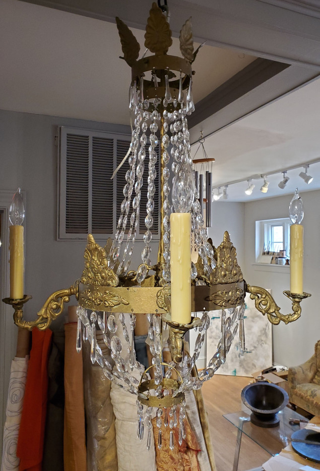 19th Century Napoleonic Crystal and Metal Chandelier