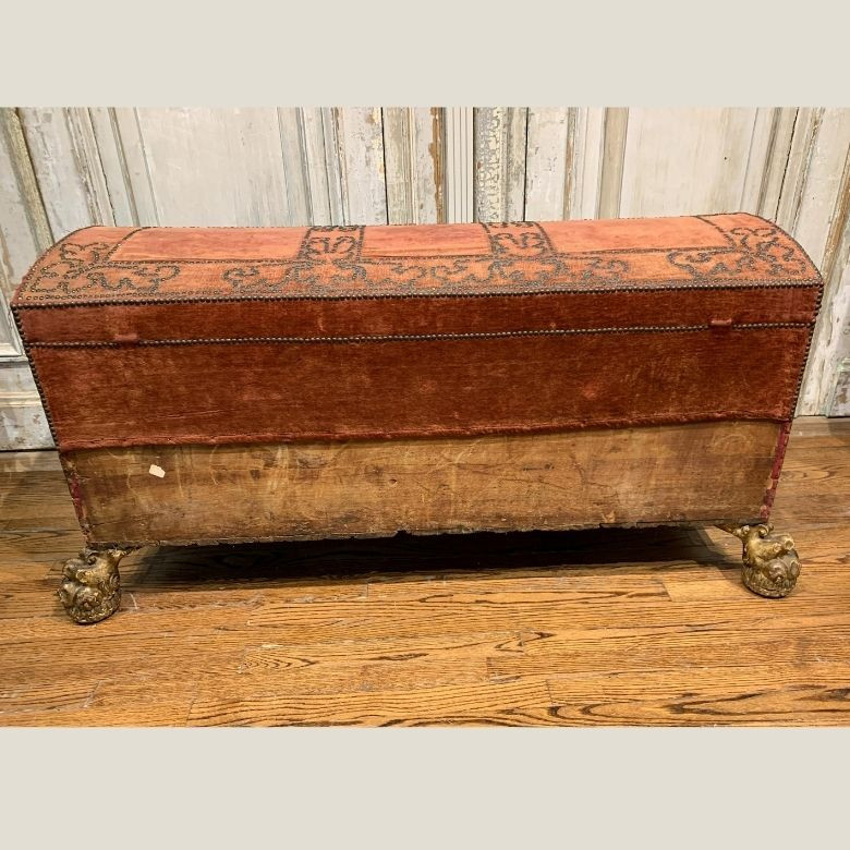 Early 17th Century Venetian Red Velvet and Nail Head Design Chest