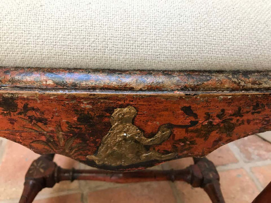 18th Century Queen Anne Period Red Lacquered Side Chair with Gold Details