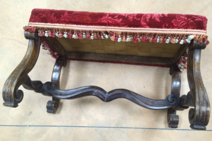 French Provincial Louis XIV Period Red Velvet and Circassian Walnut Bench