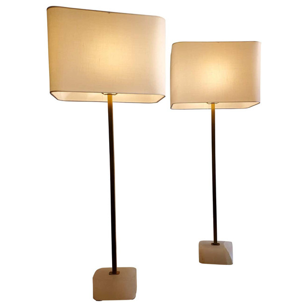 Pair of Tall Modern Lamps with White Quartzite Bases