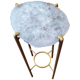 Organic Modern Clear Crystal Geode Drink Table with Gold Gilt Base