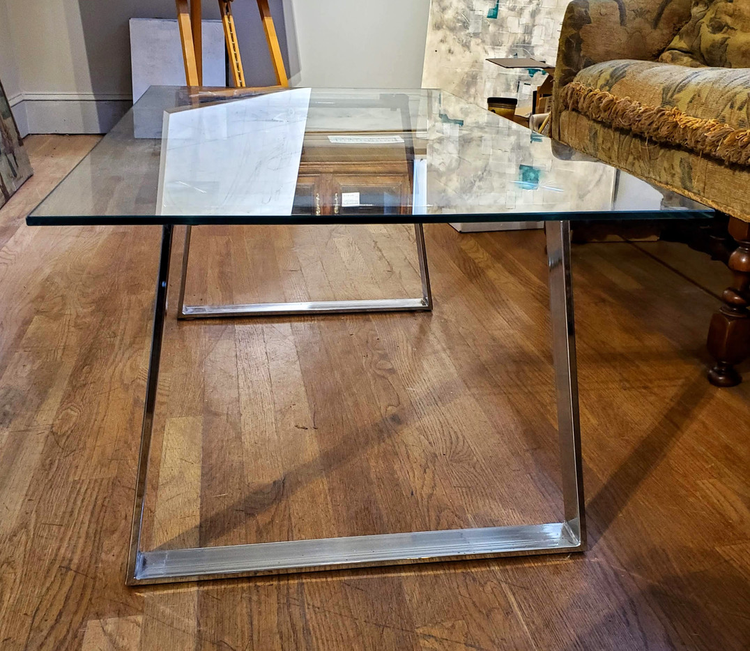 1960s Italian Mid-Century Modern Steel and Glass Coffee Table