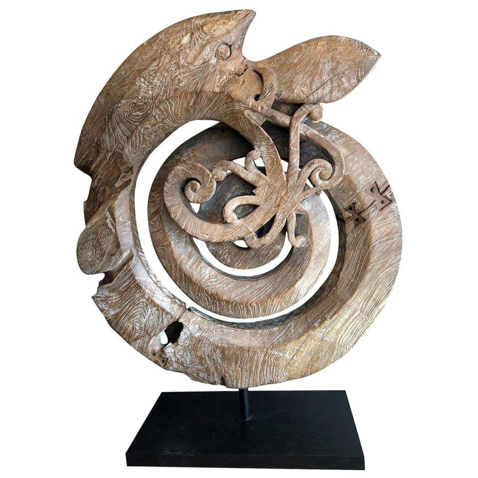 Indonesian Carved Teak Root Mythological Snake Sculpture
