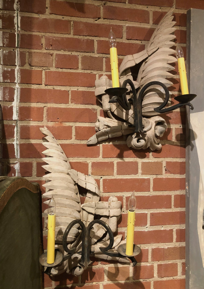 Pair of 19th Century Italian Wrought Iron and Lime Wood Wall Sconces