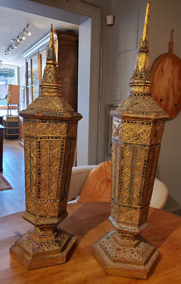 Pair of Late 19th Century Hexagonal Gilded Inlaid Decorative Urns