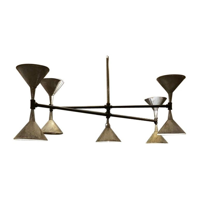 Modern Industrial Plumbers Pipe and Funnel Chandelier