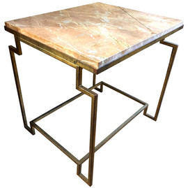 """Apollo"" Gilt Metal Fossilized Limestone Side Table"
