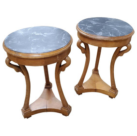 Pair of Beidermeier Style Round Pearwood Occasional Tables with Faux Marble Tops