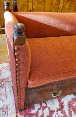 19th Century English Persimmon Upholstered Oak Bench with Three Drawers