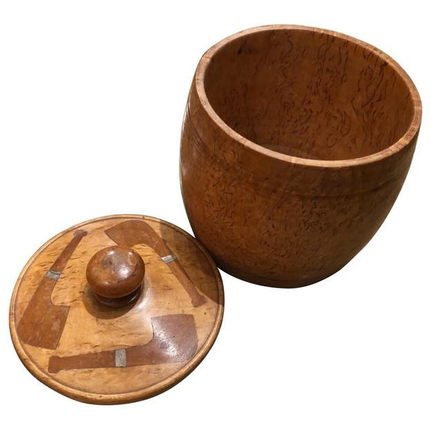 Barrel Shaped Burled Birch Wood and Mahogany Tobacco Box