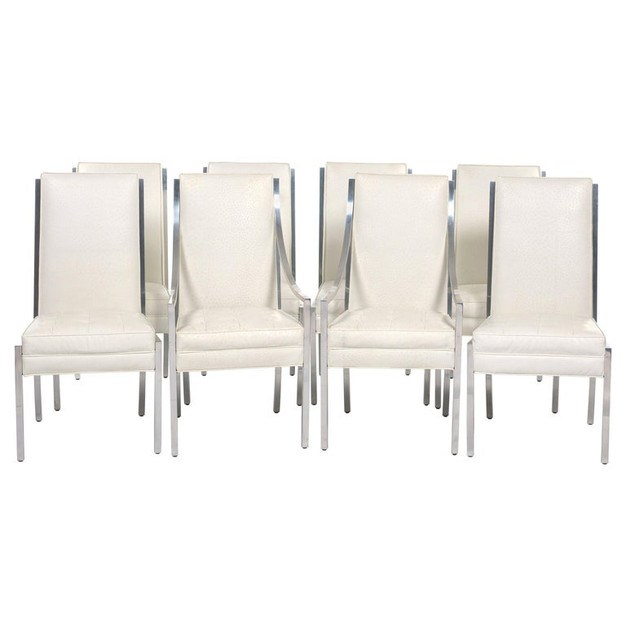 Set of Eight White Faux Ostrich Dining Chairs with Chrome Frames
