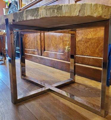 Organic Modern Petrified Wood Table with Chrome Base