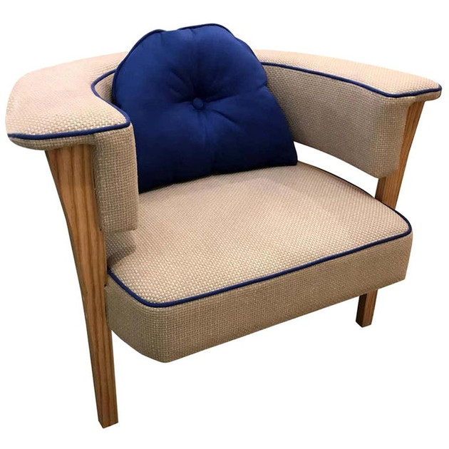 """""""Viking"""" Armchair with Natural Linen and Blue Piping"""