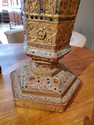 Pair of Late 19th Century Hexagonal Gilded Inlaid Decorative Urns