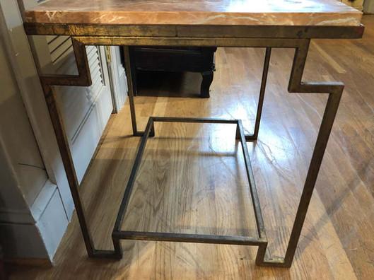Art Deco Style Gilt Metal Fossilized Limestone Side Table