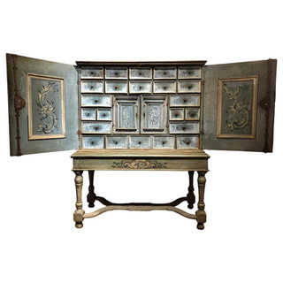 17th Century Hand Painted Blue Swiss Baroque Multi-Drawer Cabinet of Curiosity