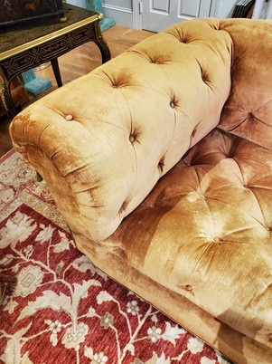 19th Century English Yellow Gold Velvet Chesterfield