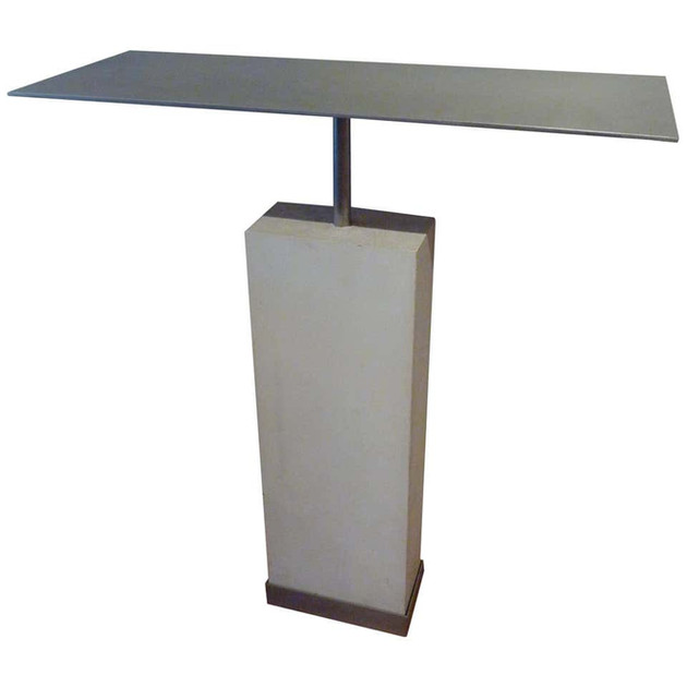 Midcentury Style Limestone and Steel Gray Console Table