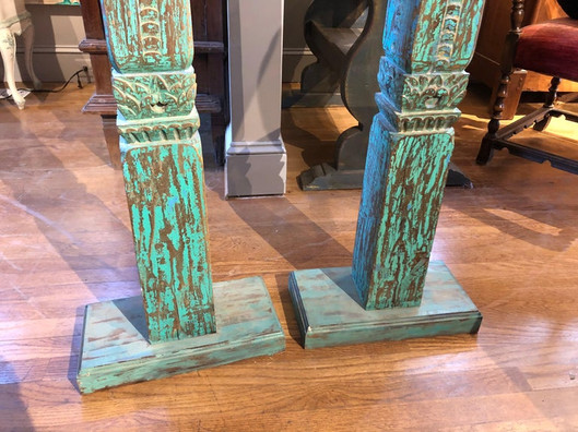 Pair of 19th Century Turquoise PaintedHand Carved Indonesian Teak Columns