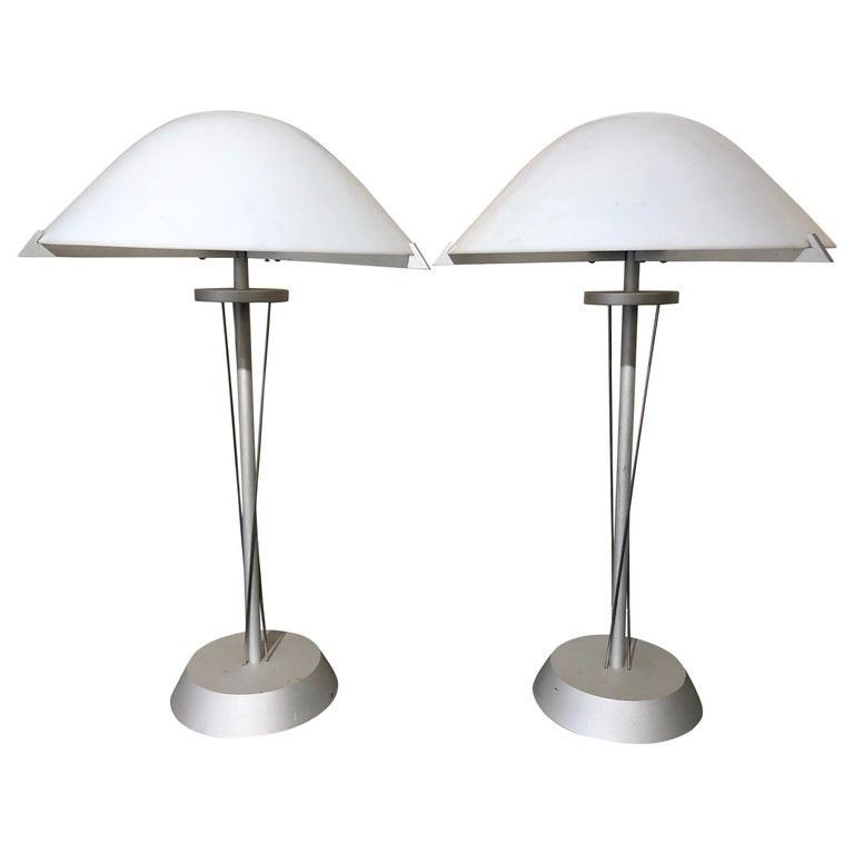 Pair of German Postmodern Steel Lamps