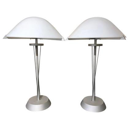 Pair of German Postmodern Steel Lamps with Milk Glass Shades