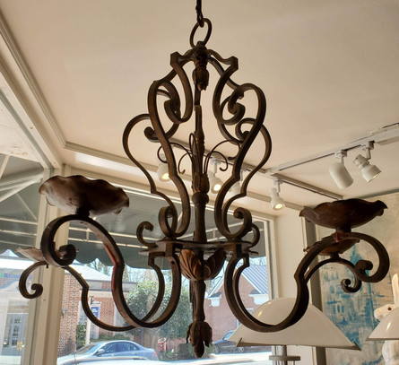 Late 19th Century French Provincial Wrought Iron Chandelier with Bronze Finish