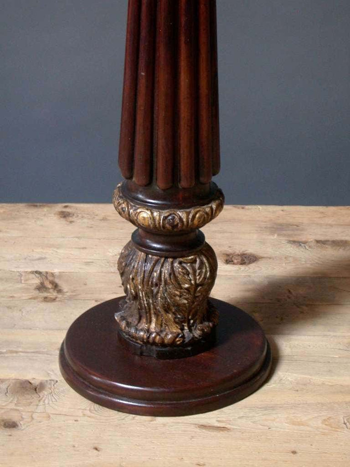 18th Century English Mahogany Brown and Gold Column with Gilded Decoration