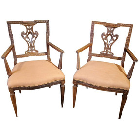 Pair of 18th Century Louis XVI French Provincial Walnut Upholstered Armchairs
