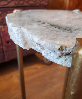Organic Modern White with Green Accent Geode Drink Table with Gold Gilt Base