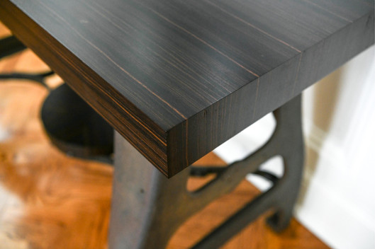 Industrial Metal and Ebony Macassar Wood Console
