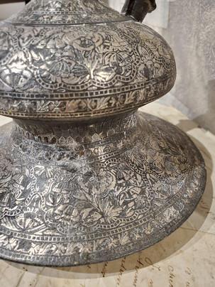 """18th Century Indian """"Bidriware"""" Metal Hookah Base"""