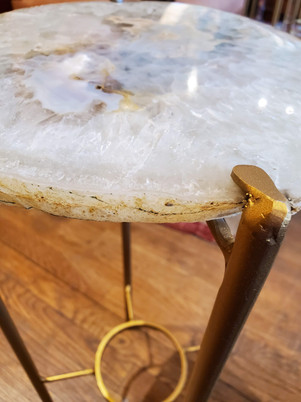 Organic Modern White Tan with Dark Gray Geode Drink Table with Gold Gilt Base