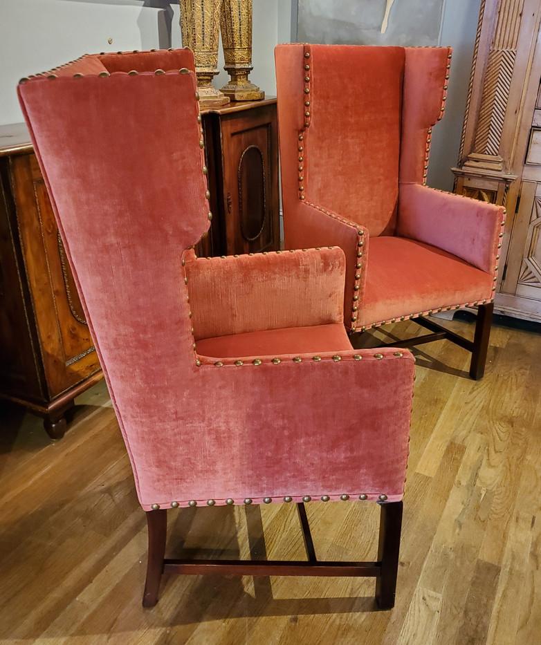 Pair of Elegant 19th Century English Red Velvet Wing Chairs