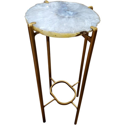 Organic Modern White Blue Gray Quartzite Geode Drink Table with Gold Gilt Base