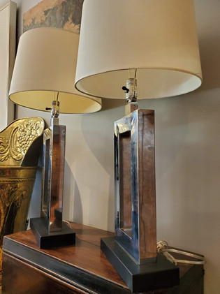 Pair of Mid-Century Modern Lamps with Chrome and Black Bases