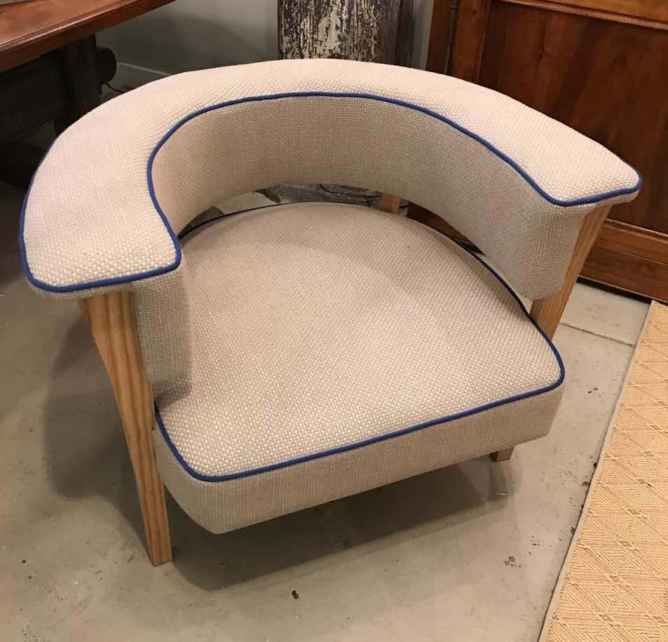 Mid-century Style Viking Armchairs Natural Linen and Blue Piping