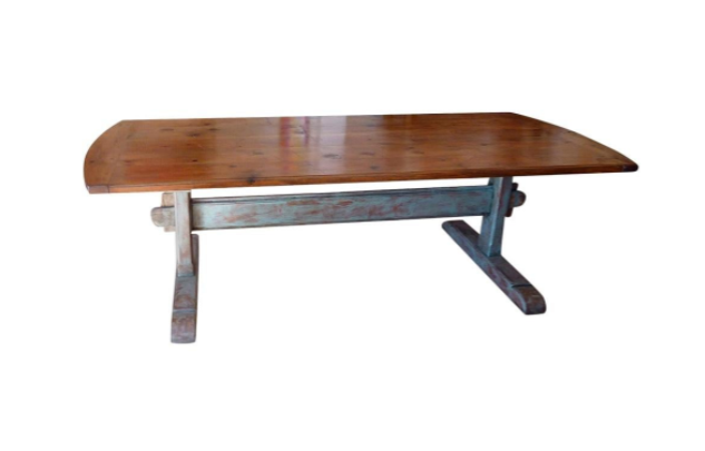 19th Century Scandinavian Dining Table with Blue Painted Trestle Base