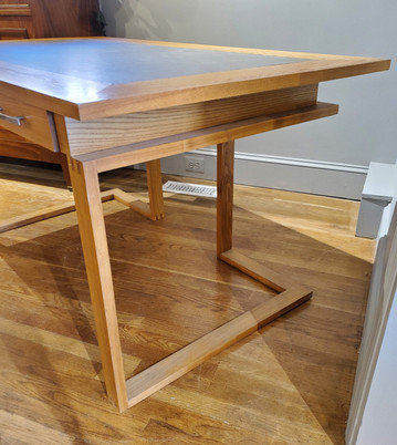 Contemporary Ashwood and Faux Leather Desk with Three Drawers